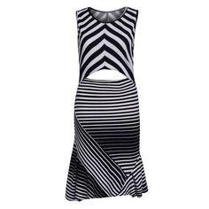 Monochrome Cut Out Detail Ruffle Trim Striped Dress D902-CSAEGV