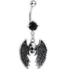 Sinful Skull with Wings Black Gem Dangle Belly Button Ring Belly Button Piercing Cute, Cute Belly Rings, Dangle Belly Rings, Belly Button Rings, Body Jewellery, Skull Jewelry, Cute Jewelry, Bellybutton Piercings, Piercing Ring