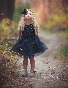 Navy blue Flower girl dress Navy tulle flower by ThinkPinkBows