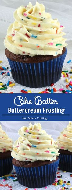 Cake Batter Buttercream Frosting - our delicious buttercream frosting flavored with cake mix and sprinkles. Sweet, creamy and colorful, this yummy homemade butter cream frosting will take your Birthday Cakes and Birthday Cupcakes to the next level, we pro Just Desserts, Delicious Desserts, Dessert Recipes, Delicious Cupcakes, Healthy Desserts, Food Cakes, Cupcake Cakes, Cupcake Frosting Recipes, Lemon Cupcakes