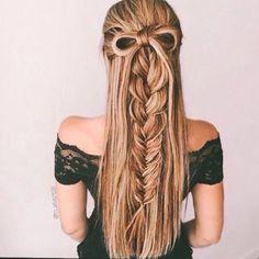 a bow & a braid half up half down hair style - Deer Pearl Flowers / http://www.deerpearlflowers.com/wedding-hairstyle-inspiration/a-bow-a-braid-half-up-half-down-hair-style/