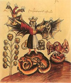 Rosarium philosophorum,16th century. The perfection of the crown rests on the head of hermaphrodite; the fixed and volatile are now united forever. The hydra in the bowl symbolizes the Elixir and its triple dominion over the three kingdoms of nature, while a snake suggests the unit that is born of the Trinity. The three-headed dragon means the success of the work is based on a threefold solution. Pelican symbolizes the cyclic distillation and alludes to the Exaltation of the Quintessence.