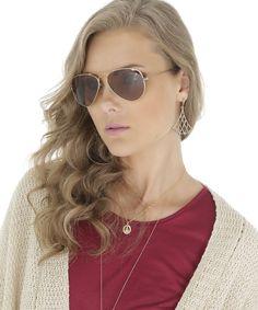 óculos aviador feminino oneself dourado http://lnk.do/jY3PD Por R$ 89,90 Esse óculos foi feito em metal com formato aviador. A lente é na cor marrom com ponte reta e plaquetas tradicionais em silicone. A proteção da lente é UVA e UVB. As hastes têm ponteira. Você vai ficar incrível com esse óculos! #oculos #aviador #oculosaviador #oferta #desconto