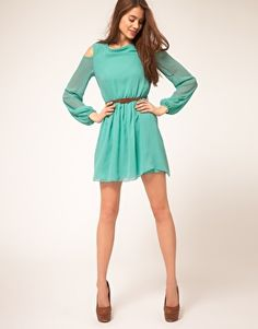 I love this dress-especially the sleeve cut at the shoulder-gives width to the shoulder.