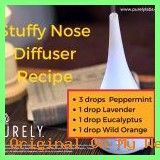 Stuffy Nose Diffuser Recipe purely Source by caroledeluca Stuffy Nose Essential Oils, Diffuser Recipes, Doterra, Doterra Essential Oils