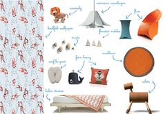 Orange Juice mood board with our ECHO TODDLER BED by a misura di bimbo