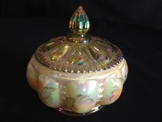 Fenton Art Glass Beaded Melon Candy Box $35 @monetcourt @ebay   #eBay