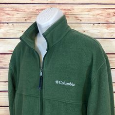 COLUMBIA SPORTSWEAR Green Full Zip Fleece Jacket Mens Long Sleeve (XL) EUC  | eBay