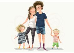 Custom family portrait, personalised family illustration, unique gift, personalised illustration, custom portrait. Full body illustration