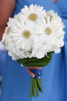 White Gerber Daisy Bridesmaid Bouquet |  Designed by Judy Johnston of Engaging Events
