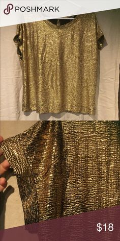 Awesome Gold blouse So cute. Gold with black. Dress up or down. Love this piece! Forever 21 Tops Blouses