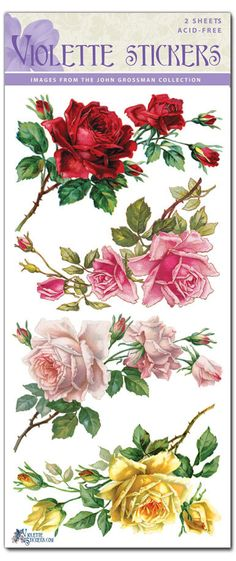 Beautiful Vintage Corner Rose Stickers for Crafting-2 sheets