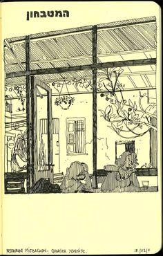 Sketchbook Drawing Sketchbook: a year in Jerusalem by Vincent Mahé, via Behance - Moleskine Sketchbook, Travel Sketchbook, Artist Sketchbook, Sketchbooks, Pen Sketch, Art Sketches, Notebook Sketches, Urban Sketchers, Sketchbook Inspiration