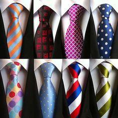 Mens-JACQUARD-WOVEN-Necktie-Classic-100-Silk-Ties-Fashion-Business-Tie-Wedding