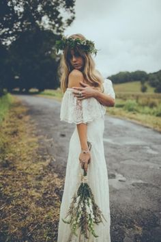 """Off the Shoulder Lace 70s Inspired Hippie Wedding Dress - """"Winnie"""" by Daughters of Simone"""