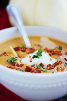 """Creamy Pumpkin Soup Recipe from The Comfort of Cooking. """"I'll just be right out with it – this pumpkin soup is the best soup I've ever made! Pumpkin Recipes, Fall Recipes, Great Recipes, Favorite Recipes, Creamy Pumpkin Soup, Pumpkin Puree, Spiced Pumpkin Soup, Cooking Recipes, Healthy Recipes"""