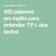 400 palavras eminglês para entender75% dos textos