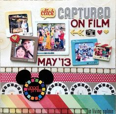 Captured on Film: Disneyland scrapbook page layout idea.
