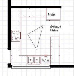 U shaped small kitchen layout - Less changing to current construction.