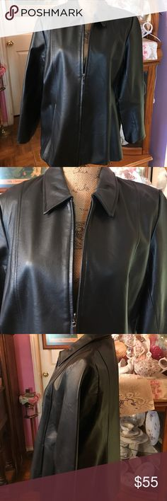 """Black leather jacket Awesome black leather jacket. Simple and perfect for just about any occasion. Luxurious leather with concealed front pockets and zip closure. Black lining. NWOT. Length is 27"""", and chest is 22"""".Very comfortable. Dialogue Jackets & Coats Jean Jackets"""