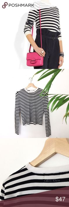 Calvin Klein |. Striped Sweater Simple black and white stripe sweater size M. Fits true to size. Regular length top. Thin material sweater perfect condition Retails: $110.00 Calvin Klein Sweaters Crew & Scoop Necks