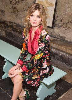 Georgia May Jagger In The Gucci Garden Printed Crêpe De Chine Silk Dress With Red Star