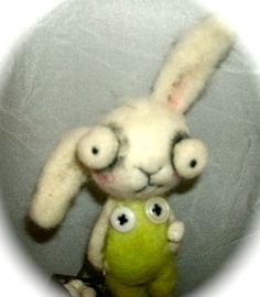 Easter Bunny  Ooak  needle felted   art doll by papermoongallery, $59.00