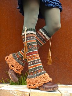 LEG WARMERS Fair Isle GREEN Copper flared leg warmers Country girl Earthy leg warmers Nordic Bell Bottoms upcycled sweater eco friendly