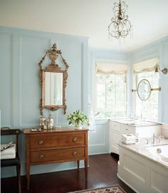"""With Spring around the corner we all need a """"breath of fresh air"""", Benjamin Moore's aptly named 2014 Color of the Year. Breath of Fresh Air is one of 23 colors in The """"New"""" Neutral palette from Benjamin Moore. Trending Paint Colors, New Paint Colors, Light Blue Paint Colors, Benjamin Moore Paint, Benjamin Moore Colors, Benjamin Moore Ocean Air, Breath Of Fresh Air, Beautiful Bathrooms, House Painting"""