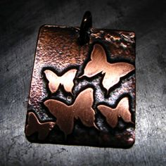 Items similar to Etched Butterfly Field Copper Charm Unique Handmade Charm Pendant Butterflies Flutterby on Etsy