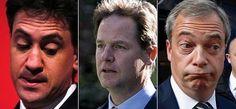 Ed Miliband, Clegg y Farage, víctimas de su mal resultado