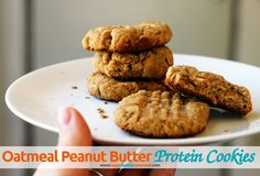 These quick & easy Oatmeal Peanut Butter Protein Cookies are made with whole wheat flour, maple syrup, & whey protein powder—a perfect healthy snack! :)
