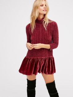 Coco Flounce Tunic | Cozy chenille tunic featuring a high neck and romantic ruffled velvet hem. Easy, effortless shape.