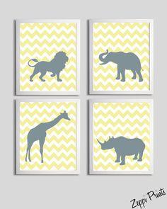 Nursery Art Chevron Yellow Gray Safari Animals set of 4 each 5x7 de3. $32.00, via Etsy.