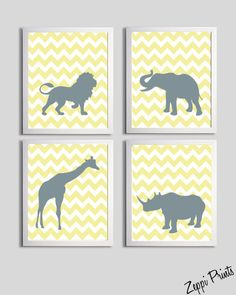 Cute!    Etsy: Nursery Art Chevron Yellow Gray Safari Animals set by ZeppiPrints.