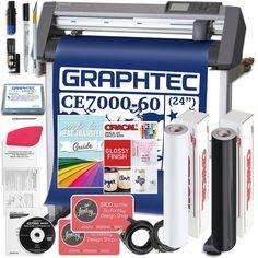"Graphtec CE7000-60 PLUS - 24"" Professional Bundle, BONUS Software Heat Transfer Vinyl, Transfer Tape, Mug Press, Swing Design, Siser Easyweed, Popular Crafts, Oracal Vinyl, Vinyl Cutter, Make Design"