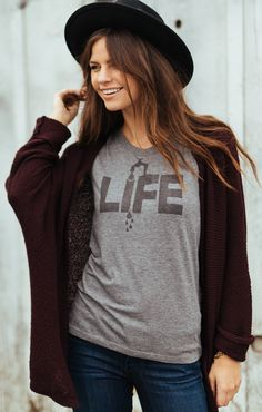 "Pair a cute hat with one of our  ""Life"" Triblend Short Sleeve Tees for a chic and casual outfit that is perfect for any occasion!"