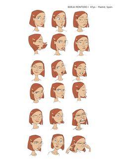 Borja Montoro Madrid, Spain Facial Expressions Drawing, Cartoon Expression, Expression Sheet, Character Model Sheet, Kid Character, Character Modeling, Mom Characters, Girl Facial, Indie Art