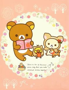手机壁纸 插画 萌 可爱 轻松熊