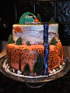 trees, mountains, camping cake
