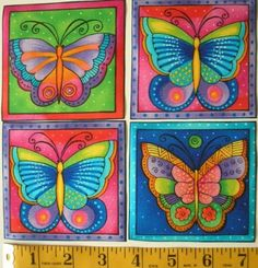Laurel Burch Fabric Squares Butterfly Flying Colors 8 Appliques Iron on Kit Kids Art Class, Art Lessons For Kids, Art For Kids, Butterfly Crafts, Butterfly Art, Laurel Burch Fabric, Dot Painting, Whimsical Art, Simple Art