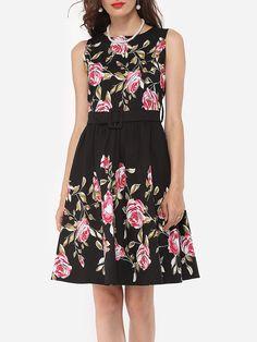 #AdoreWe #FashionMia Skater Dresses - FashionMia Floral Printed Decorative Buttons Charming Vintage Round Neck Skater-dress - AdoreWe.com