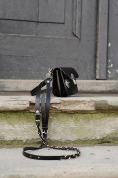 torebka skórzana mała ręcznie robiona PATI S - ladybuqartstudio - Torby na ramię
