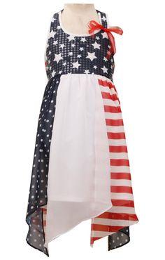 73ec8ef506 Big-Girls Red White Blue Colorblock Chiffon Hanky Hem Americana 4th July  Dress 6X 4th
