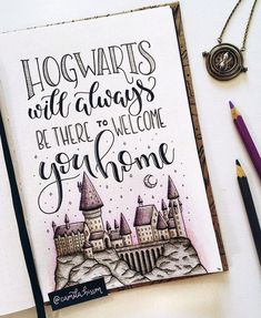 Nice Harry Poter Hogwarts quote, drawing for in bullet journal