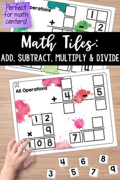 Math Tiles: All Operations (Add, Subtract, Multiply & Divide) Activity Centers, Math Centers, Fourth Grade, Third Grade, Teaching Critical Thinking, Multiplication Problems, Math Stem, Teaching Resources, Teaching Ideas