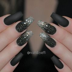 Black Matte gel with Black diamont and Silver Blizzard glitter♥♥♥ @hudabeauty #hudabeauty Nail Design, Nail Art, Nail Salon, Irvine, Newport Beach