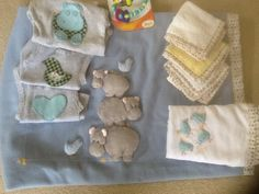 A blanket, baby wraps, singlets and washers for our beautiful baby Jimmy. Made with love by Mum, Ellie and Kate for Jacquie.