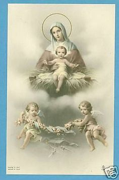 Vintage Catholic Large Holy Card Picture Jesus And Mary Angels Postcard Size