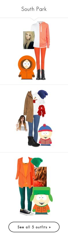 """""""South Park"""" by monokumaa ❤ liked on Polyvore featuring 7 For All Mankind, Armani Jeans, KENNY, Topshop, Printed Village, Woolrich, Sperry, The North Face, Dolce&Gabbana and Converse"""
